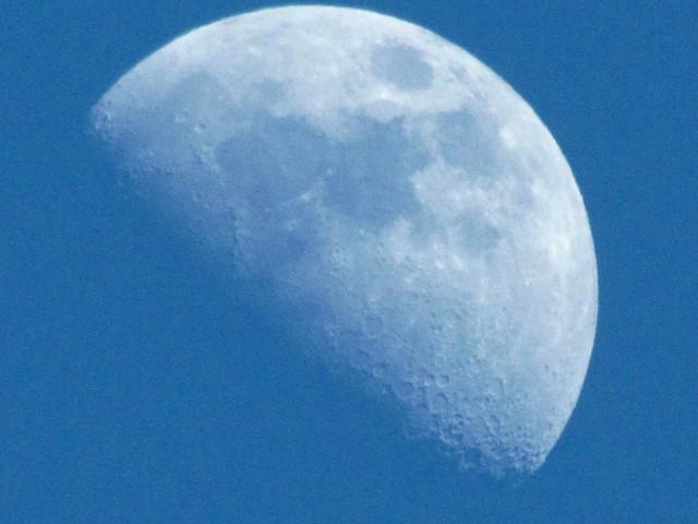 Waxing gibbous moon, February 18, 2013, Bryan Park, Richmond, VA