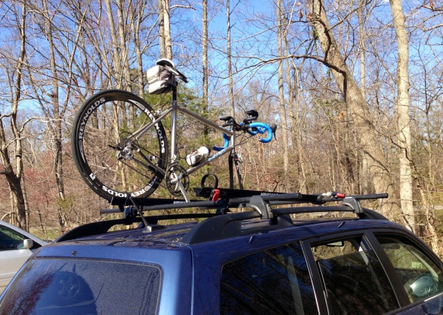 Bike on car, pre- or post-ride today at West Creek