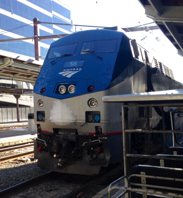 Another Amtrak P42DC, with a little snow, in Union Station in Washington: