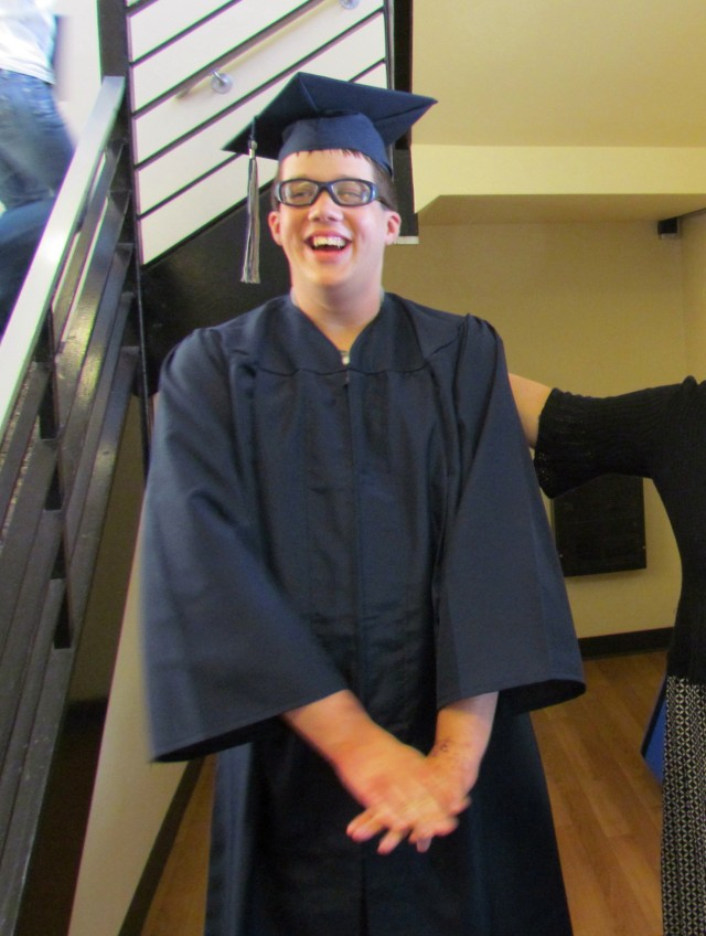 Everybody's happy to FINALLY graduate...