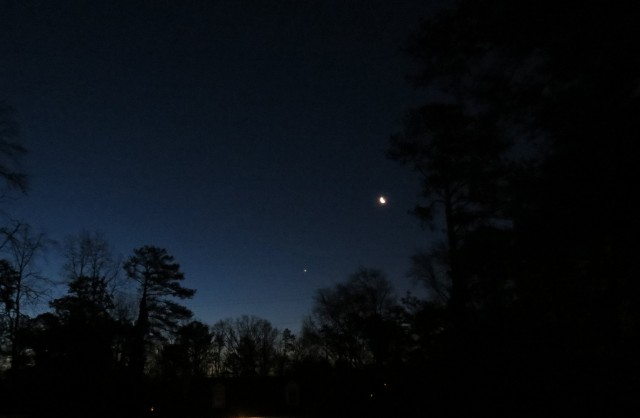 Venus (bottom center), the moon (right center) about 1/2 hr before sunrise