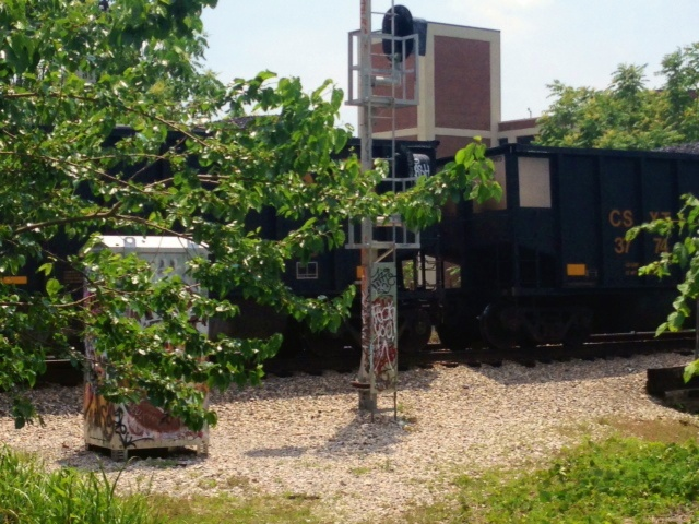 Coal train and signal, downtown Richmond