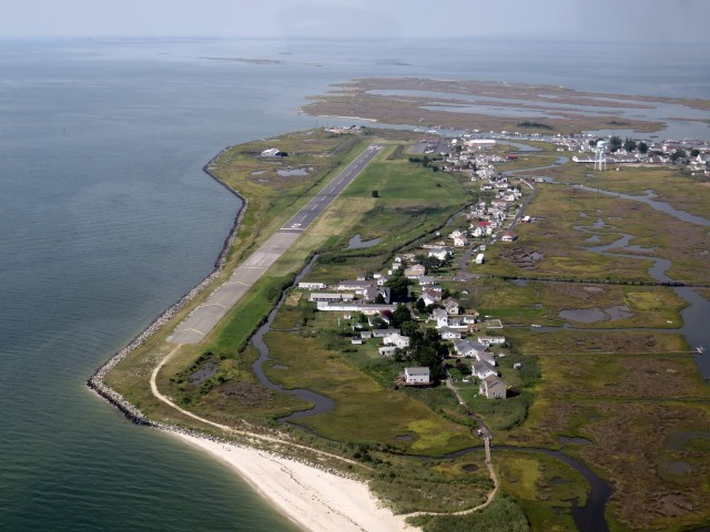 Tangier Island in view; runway is on the left