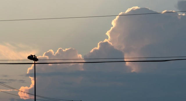 I am loving these clouds. I am painfully embarrassed by the wires but oh well. Those clouds are worth it.