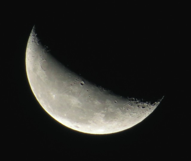 Waning crescent moon from ~6:00 Friday (10/17/2014) morning.