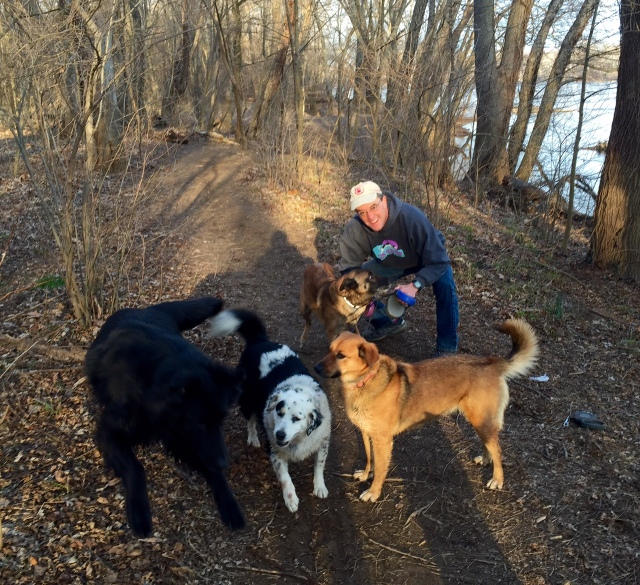 Mackey (wild black blur on left), Luna, Lola, Turner in back, and yours truly