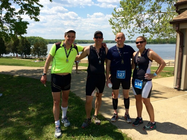 Me, Travis, Andrew, Sarah - post race, with Lake Anna in the background.