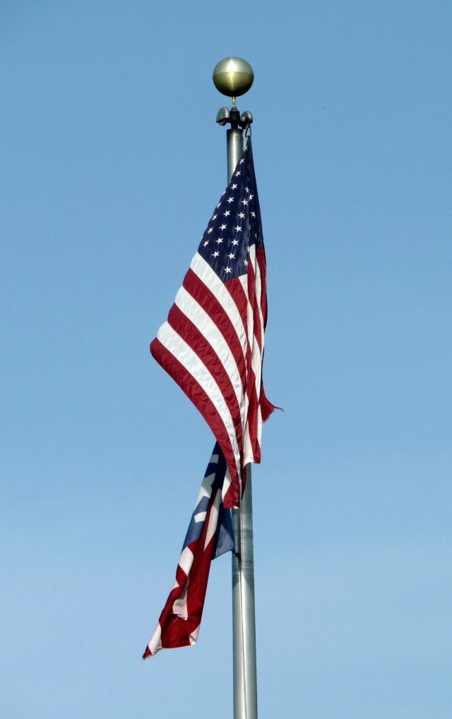 American Flag in front of Freeman