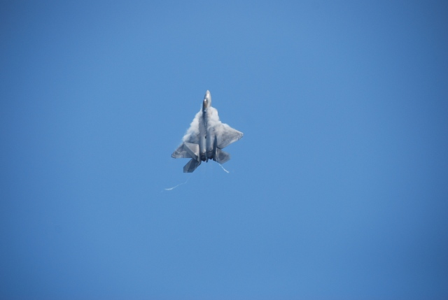 F-22 standing on its tail. That plane weighs WAY over 10 tons.