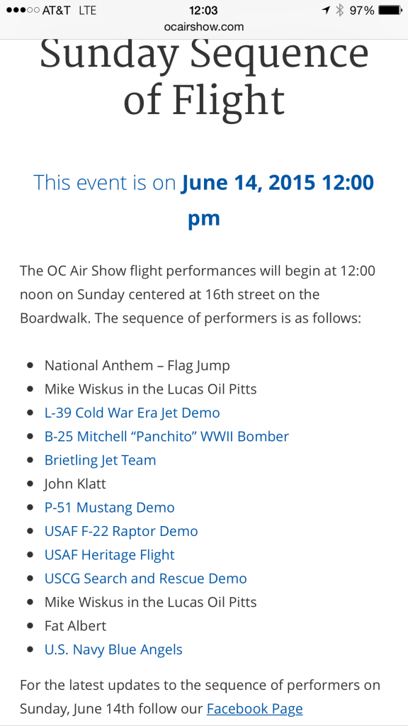 Airshow Sequence of Events