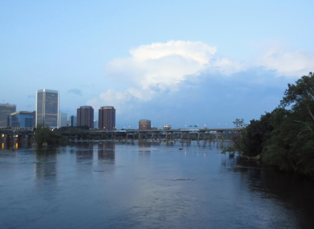 Looking east (downstream) on the mighty James River; that's downtown Richmond on the left