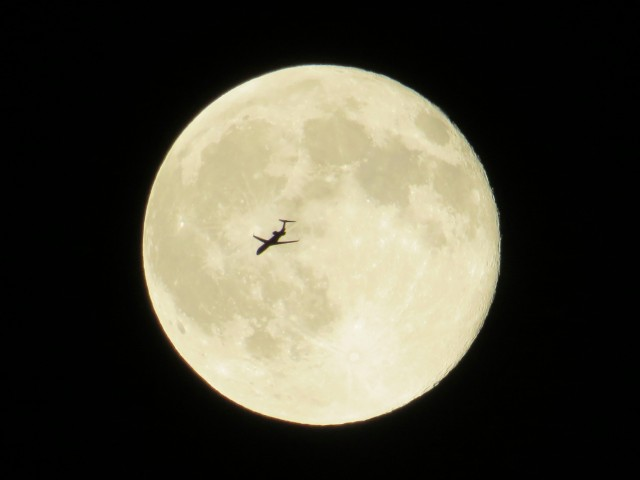 "100% accidental picture of a plane flying in front of July's ""blue"" moon"