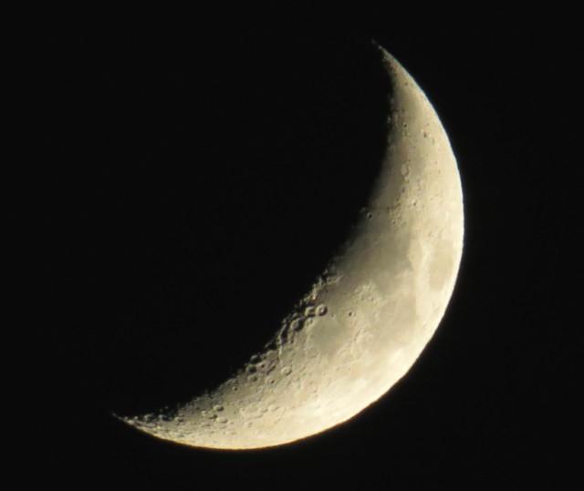 Waxing crescent moon Friday night