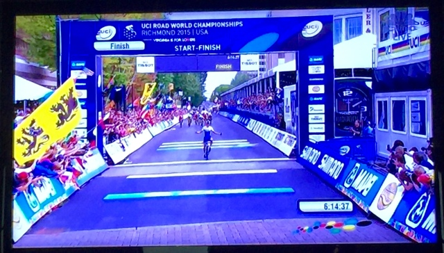 Peter Sagan after riding his bicycle for 162.4 miles in 6 hrs, 14 minutes:
