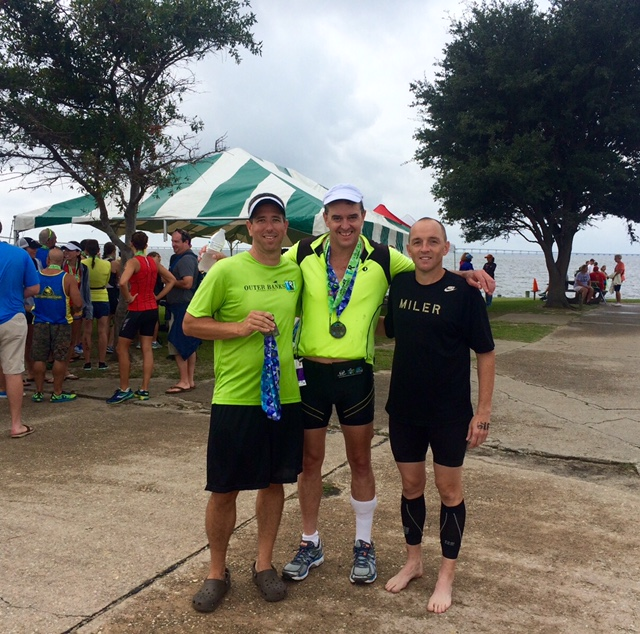 Travis, me and Andrew after finishing the race this morning