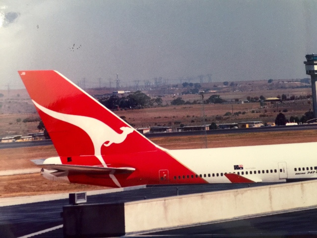 The tail of a Qantas jet in 1991: