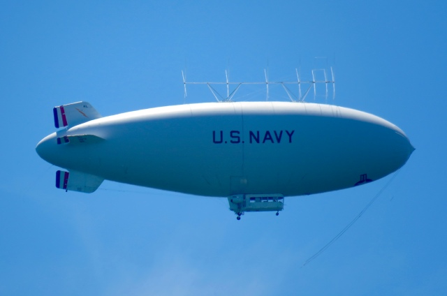 US Navy MZ-3A blimp flying west over the Huguenot Bridge in Richmond, VA