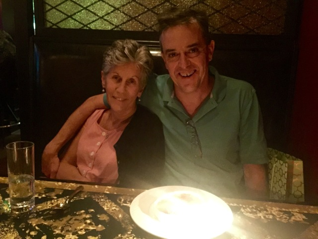 Celebrating my 55th birthday with Evelyn at l'opossum in Richmond. Photo by our friend Ariel.