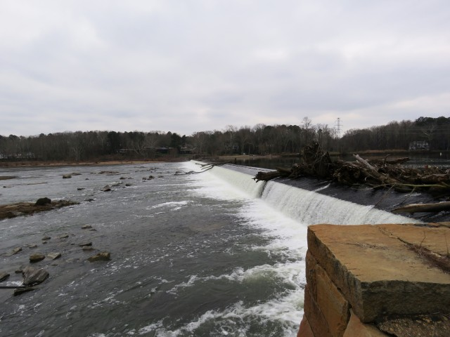 Looking south across Bosher's Dam on the James River