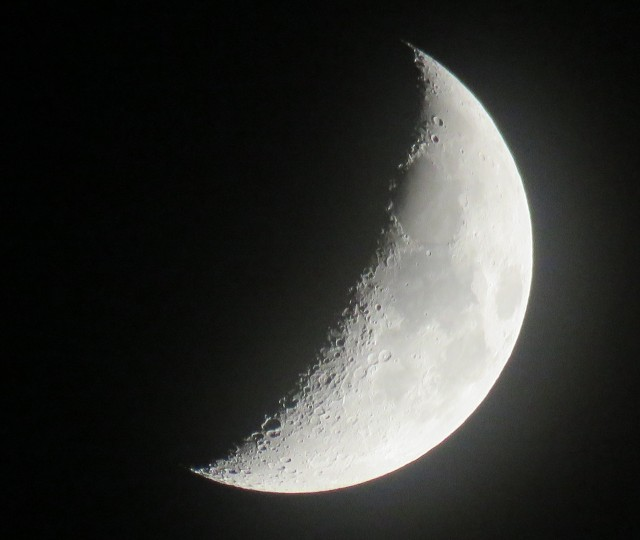 Waxing crescent moon Monday evening