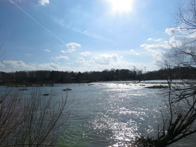Our gleaming James River below Bosher's Dam earlier today: